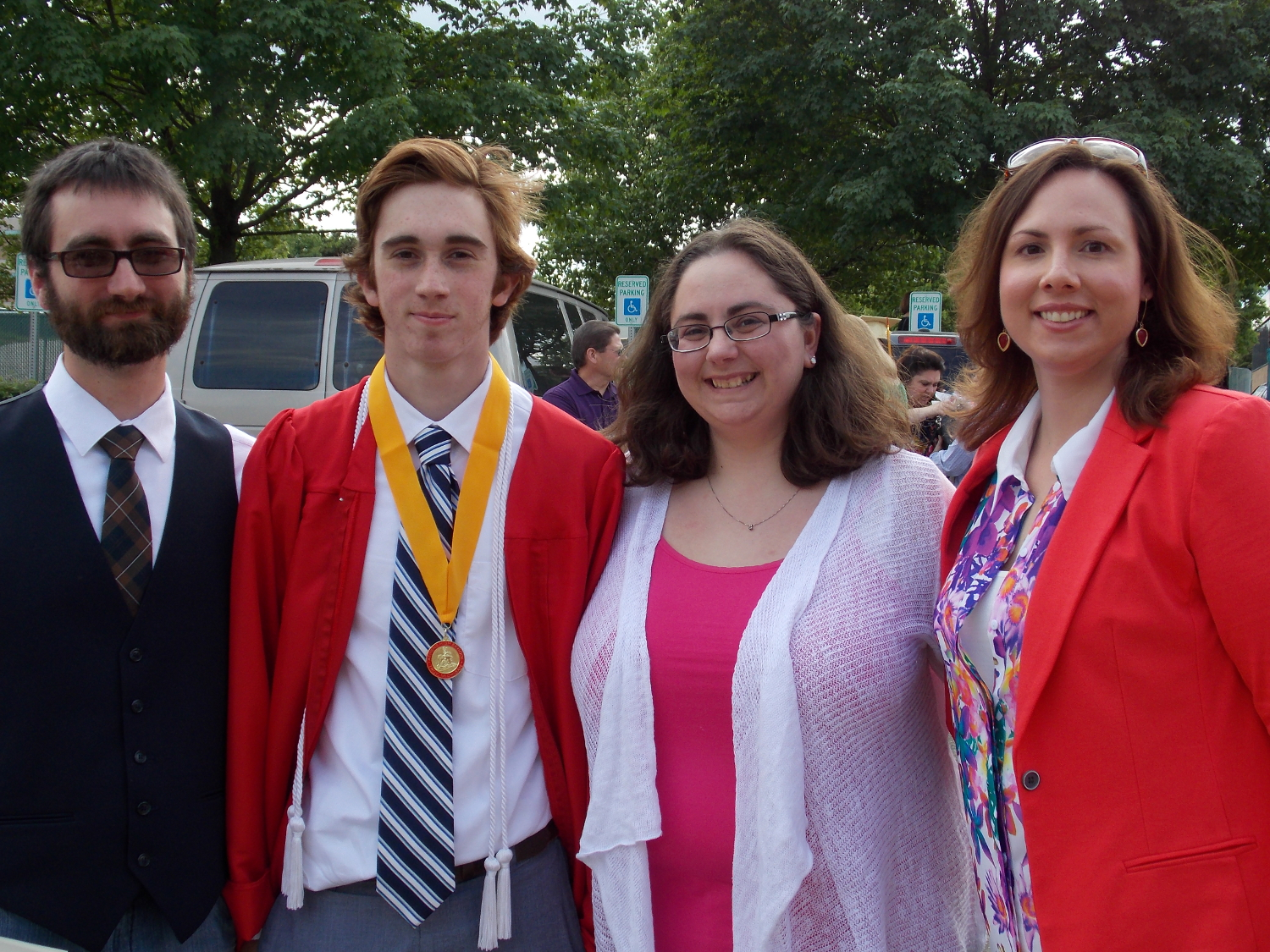 L to R: Bill (class of '02), Max (class of '13), Erin (class of '00), and Natalie (class of '00)